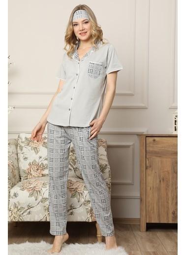 Akbeniz Kadın Gri Pamuklu Düğmeli Cepli Kısa Kol Pijama Takım 2541 Gri